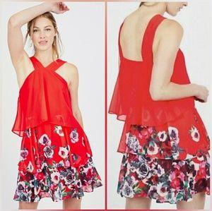 Badgley mischka popover ruffle dress